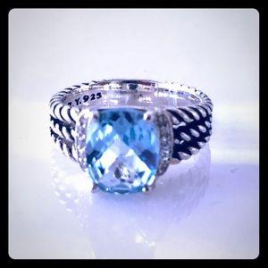 David Yurman 7 Petite Wheaton Blue Topaz Ring